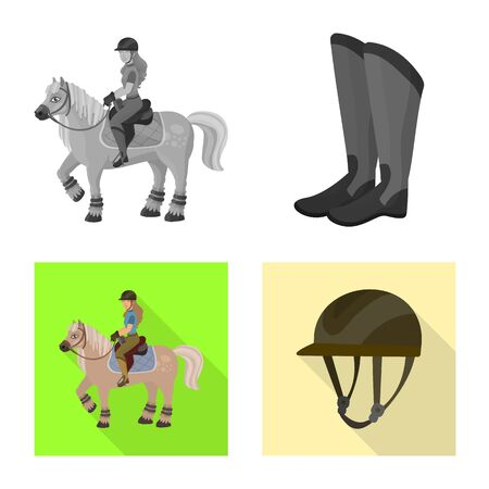 Vector design of equipment and riding symbol. Collection of equipment and competition stock symbol for web.
