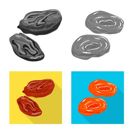 Isolated object of food and raw icon. Set of food and nature vector icon for stock. Ilustração