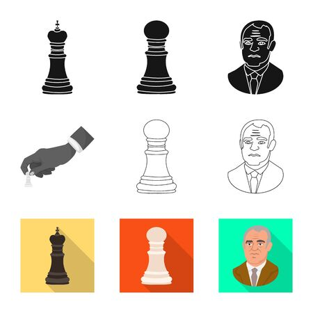 Vector design of checkmate and thin icon. Set of checkmate and target vector icon for stock. Stock Illustratie