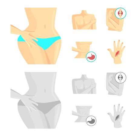 Vector illustration of hospital and rendering sign. Set of hospital and help vector icon for stock. Illustration