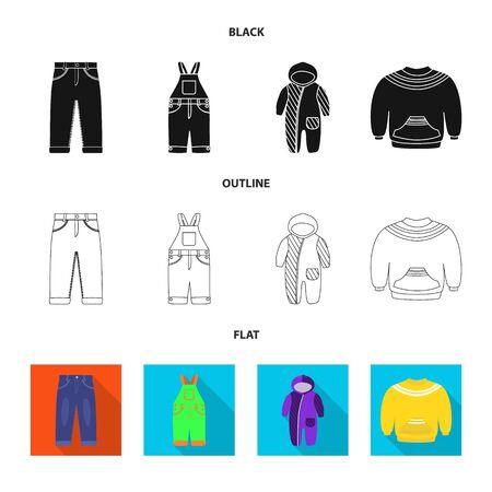 Vector design of fashion and garment symbol. Set of fashion and cotton vector icon for stock. Stock Illustratie