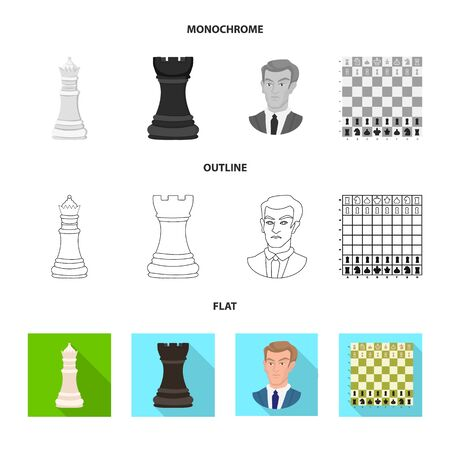 Vector design of checkmate and thin symbol. Collection of checkmate and target stock vector illustration. Vettoriali