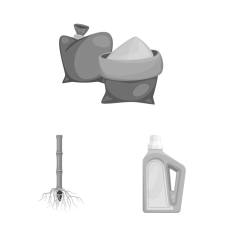 Vector design of sugarcane and cane icon. Set of sugarcane and field stock symbol for web.