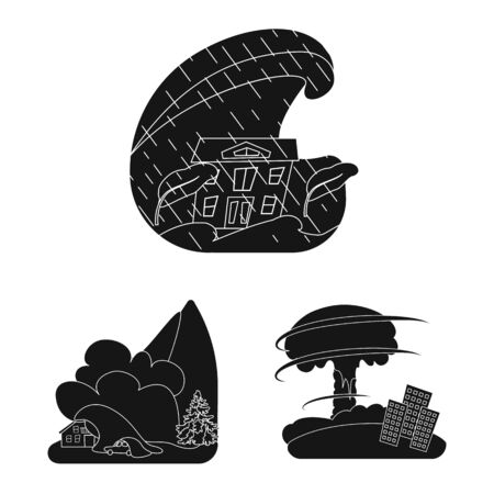Vector illustration of calamity and crash symbol. Set of calamity and disaster stock symbol for web.