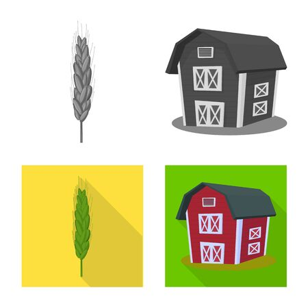 Vector design of agriculture and farming symbol. Collection of agriculture and plant stock symbol for web.