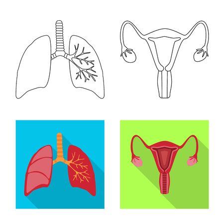 Vector design of biology and scientific sign. Set of biology and laboratory stock symbol for web. Ilustración de vector