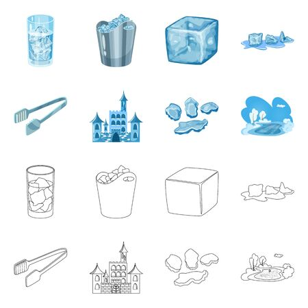 Vector design of texture and frozen symbol. Set of texture and transparent stock vector illustration.