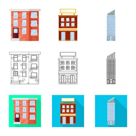 Vector illustration of municipal and center. Collection of municipal and estate stock vector illustration.