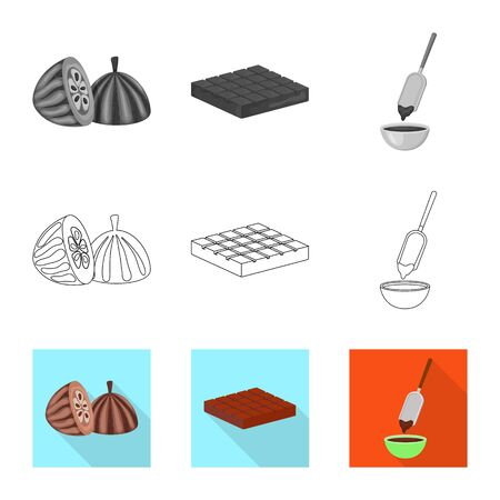 Isolated object of food and yummy symbol. Collection of food and brown vector icon for stock. Standard-Bild - 128390946