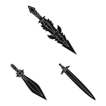 Vector design of sharp and blade icon. Collection of sharp and dagger stock symbol for web.