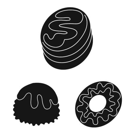 Vector design of sweetness and product. Set of sweetness and sweet stock symbol for web.