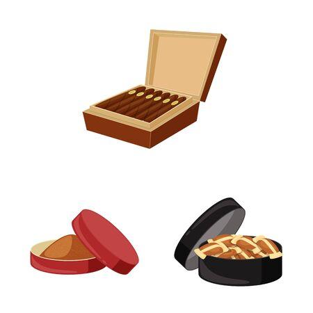 Illustrazione vettoriale del segno di sigaretta e tabacco. Raccolta di simbolo di borsa di sigarette e nicotina per il web.