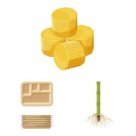 Vector design of sugarcane and cane symbol. Collection of sugarcane and field stock symbol for web.