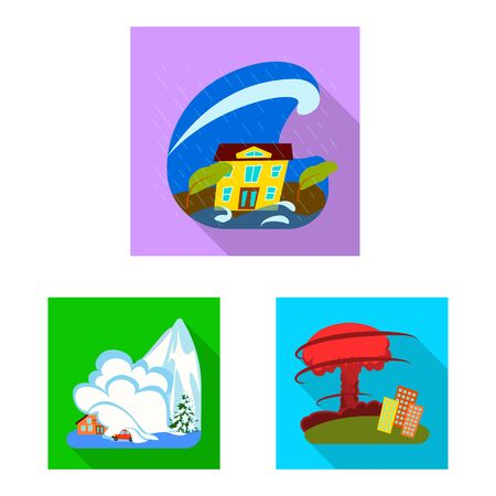 Vector illustration of collapse and environment. Set of collapse and distress vector icon for stock.