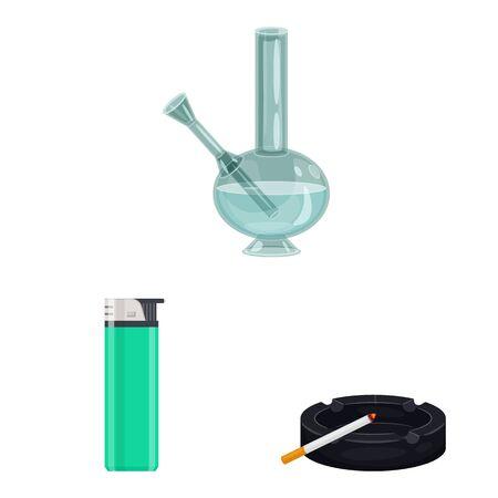 Vector design of cigarette and tobacco. Set of cigarette and nicotine stock vector illustration.