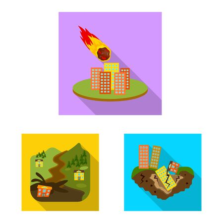 Isolated object of collapse and environment. Set of collapse and distress vector icon for stock. Illustration