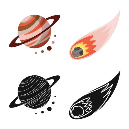 Vector design of astronomy and technology. Set of astronomy and sky vector icon for stock.