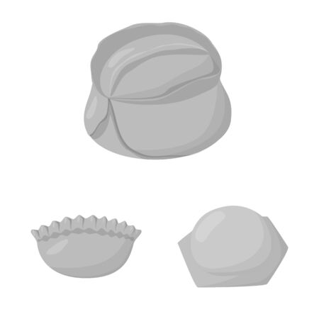 Vector illustration of dumplings and stuffed sign. Collection of dumplings and dish stock symbol for web.