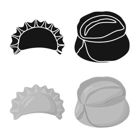 Isolated object of products and cooking sign. Collection of products and appetizer stock symbol for web. Illustration