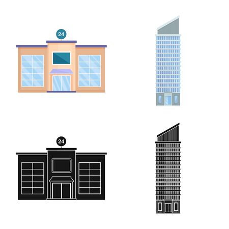Vector illustration of municipal and center. Collection of municipal and estate vector icon for stock.