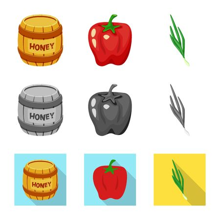Vector design of taste and product icon. Collection of taste and cooking stock vector illustration. Ilustração