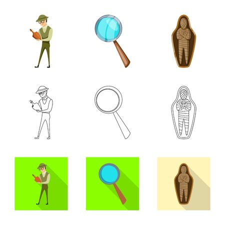 Vector design of story and items sign. Collection of story and attributes stock symbol for web. Ilustração
