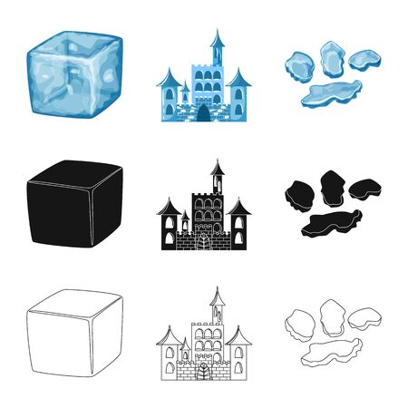 Vector design of texture and frozen sign. Set of texture and transparent stock symbol for web. Illustration