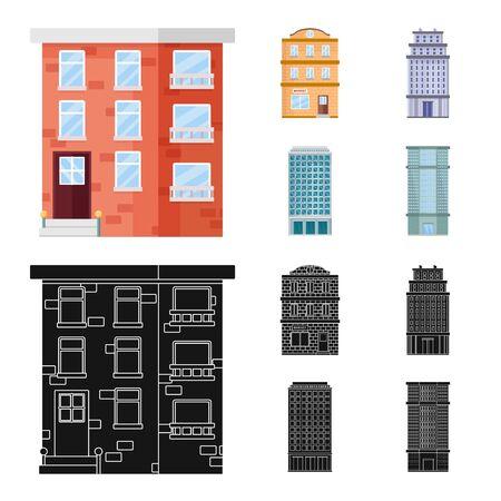 Vektorillustration des städtischen und mittleren Symbols. Sammlung von Vektorillustrationen für kommunale und Immobilienbestände.