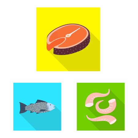 Isolated object of product and ocean icon. Set of product and restaurant stock symbol for web.