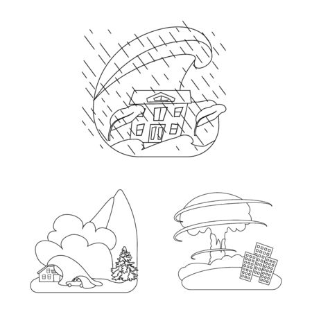 Vector illustration of cataclysm and disaster sign. Collection of cataclysm and apocalypse stock vector illustration.