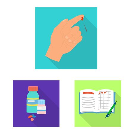 Vector design of symptom and disease icon. Collection of symptom and treatment stock vector illustration. Ilustração