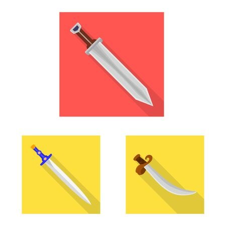 Vector design of and sword symbol. Set of and knife stock vector illustration.