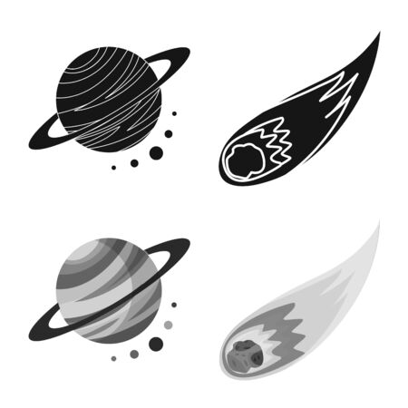 Vector illustration of astronomy and technology symbol. Collection of astronomy and sky vector icon for stock.
