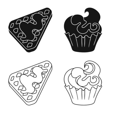 Vector design of confectionery and culinary symbol. Set of confectionery and product stock vector illustration.