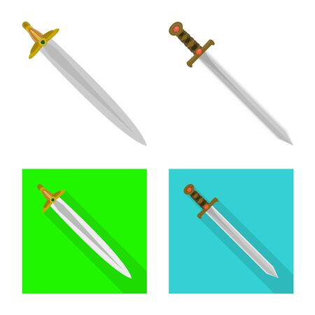 Isolated object of game and armor icon. Set of game and blade stock vector illustration. Illustration