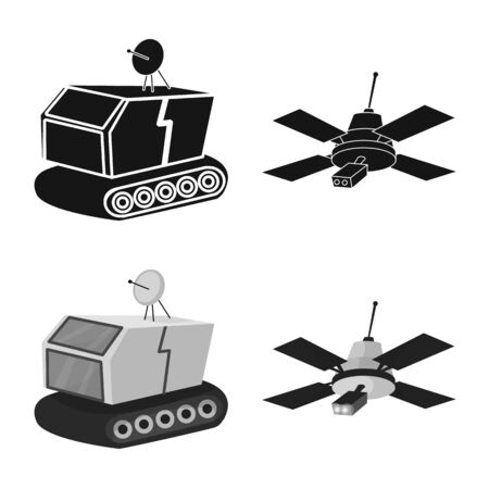 Vector illustration of astronomy and technology . Set of astronomy and sky vector icon for stock.