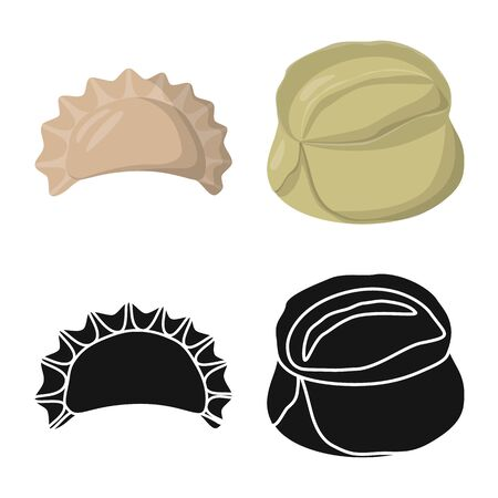 Isolated object of products and cooking icon. Set of products and appetizer stock symbol for web.