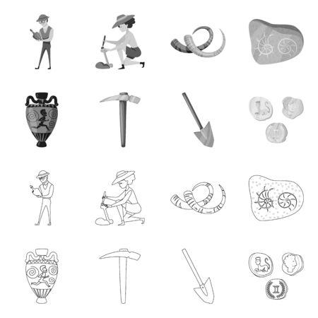 Disegno vettoriale di segno di storia e oggetti. Set di storia e attributi simbolo azionario per il web.