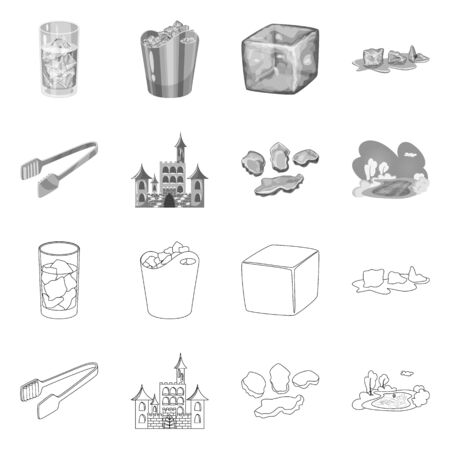 Vector design of texture and frozen . Collection of texture and transparent stock symbol for web.