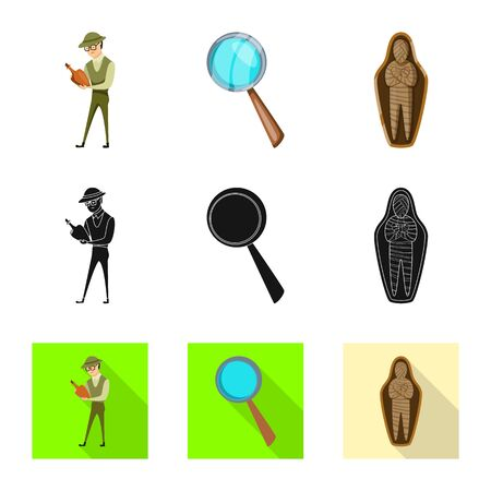 Isolated object of story and items symbol. Set of story and attributes stock symbol for web.