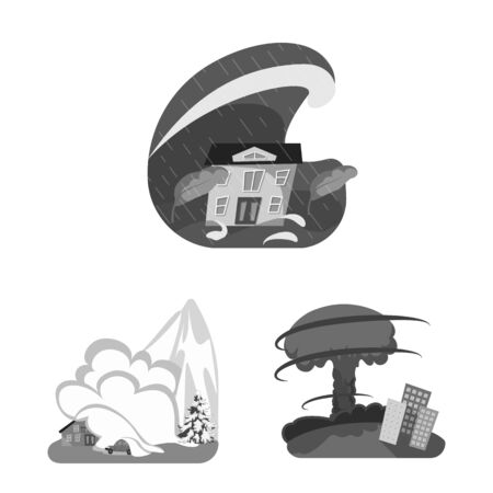 Isolated object of nature and apocalypse logo. Set of nature and environment vector icon for stock.