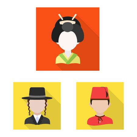 Vector illustration of nation and race icon. Set of nation and user stock vector illustration.