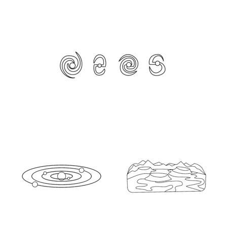 Vector illustration of space and galaxy symbol. Collection of space and travels stock symbol for web. Ilustração