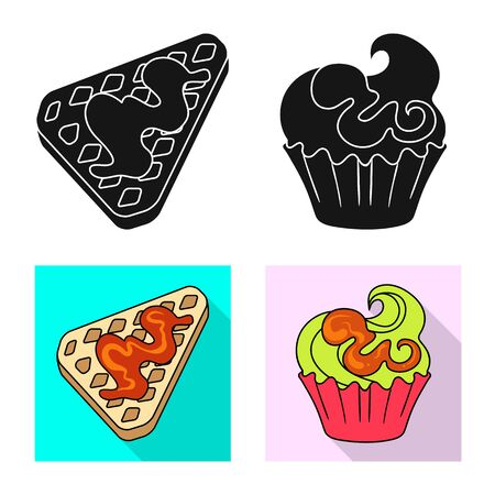 Vector design of confectionery and culinary icon. Set of confectionery and product stock vector illustration.