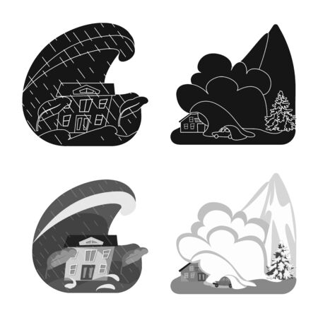Isolated object of weather and distress symbol. Collection of weather and crash vector icon for stock.