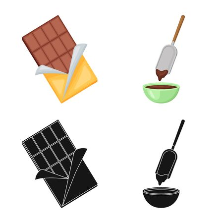 Isolated object of food and yummy sign. Collection of food and brown vector icon for stock. Imagens - 128463455