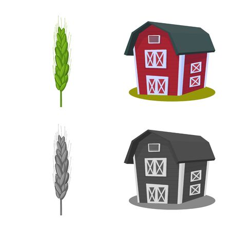 Isolated object of agriculture and farming icon. Collection of agriculture and plant vector icon for stock. 일러스트