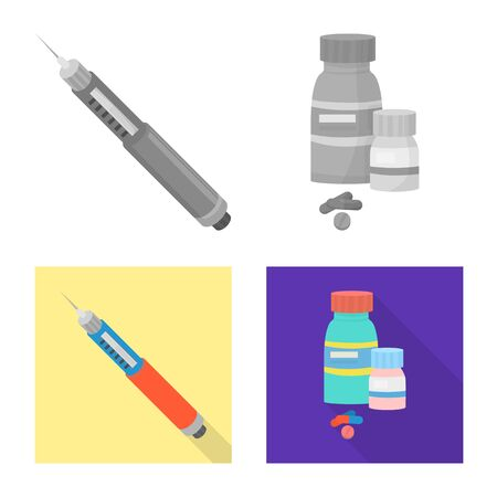 Isolated object of diet and treatment icon. Collection of diet and medicine stock symbol for web.