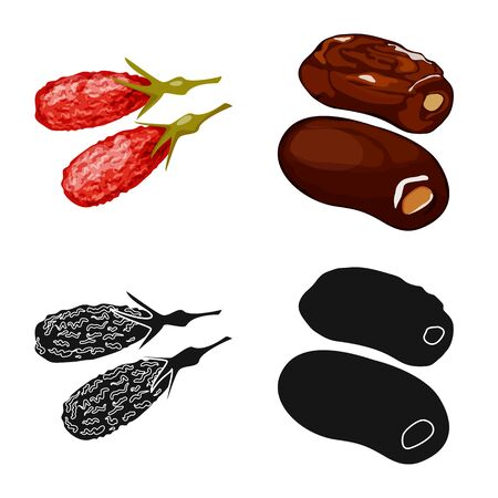 Vector design of food and raw symbol. Set of food and nature vector icon for stock.