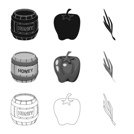 Vector illustration of taste and product icon. Collection of taste and cooking vector icon for stock. Imagens - 128480933